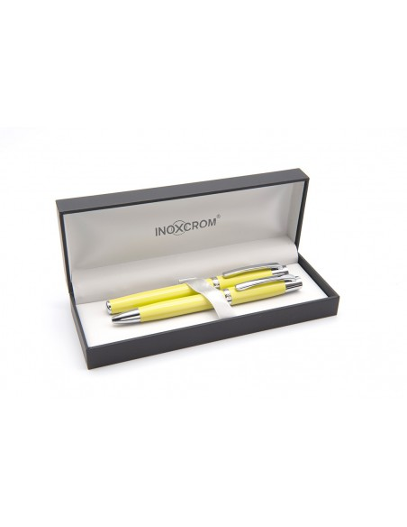 Inoxcrom Arc ballpen & fountain pen set, lacquered in pear yellow