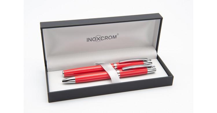 Juego de bolígrafo y pluma Inoxcrom Arc carmesí